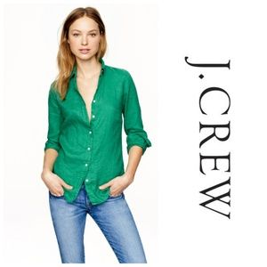 J. Crew Perfect Shirt in Linen Green Size 6